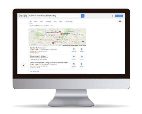 Suchmaschinenoptimierung für Rechtsanwältin Schübel - Fachanwältin für Mietrecht. Auf Platz drei in der Google Suche gelistet.