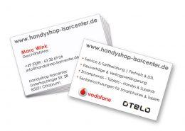 Visitenkarte Handyshop partieller Lack