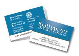 Visitenkarte partieller Lack Anwaltskanzlei Sedlmeyer
