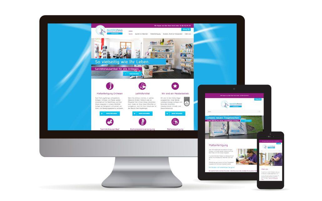 Webdesign in WordPress für das Sanitätshaus Lenggries