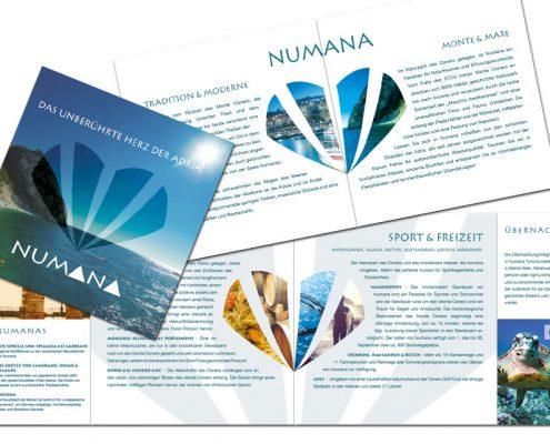 Broschüre für Numana - 8 Seiten quadratisch - gefalzt - doppelseitig bedruckt