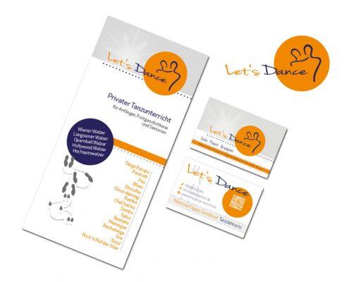 Geschäftsausstattung Lets Dance - Tanzschule München - Flyer, Logo, Visitenkarten