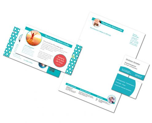 Geschäftsausstattung - Stefanie Schaller - Physiotherapeutin - Flyer, Visitenkarten, Geschäftspapier