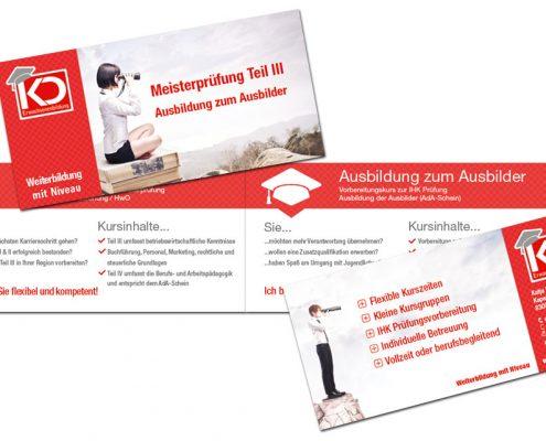Flyer für Katja Dziallas - Erwachsenenbildung. 4 seitig im Querformat - doppelseitig bedruckt