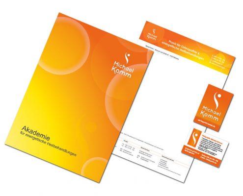 Geschäftsausstattung Michael Komm - Heilpraktiker - Visitenkarten, Flyer, Geschäftspapier