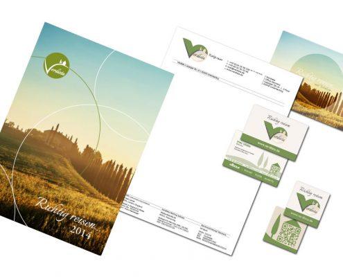 Geschäftsausstattung verdista - Reiseunternehmen - Katalog, Briefpapier, Visitenkarten, Postkarte, QR-Code