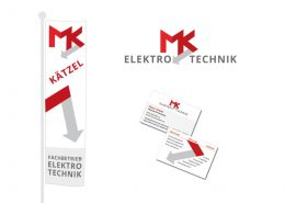 Geschäftsausstattung Elektrotechnik Kätzel - Logoentwicklung, Visitenkarten, Fahne