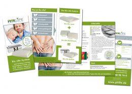 Produkt Flyer für PFR Life. 6 seitig hochkant - doppelseitig bedruckt
