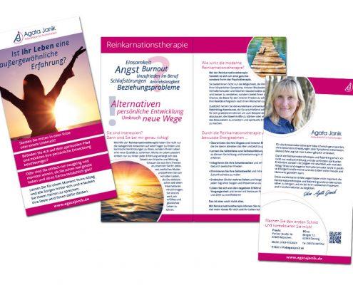 Werbeflyer für Agata Janik. 4 seitig hochkant - doppelseitig bedruckt.
