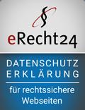 Datenschutzerklärung rechtssicher erstellt mit eRecht24