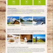Webdesign für Tourismusportal BerglustPur - Design der Startseite