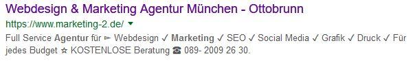 SERP - Anzeige bei Google