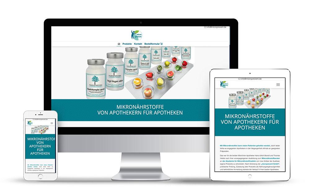 Das Webdesign für den Micronährstoffhersteller Microprevent wurde mit WordPress erstellt.