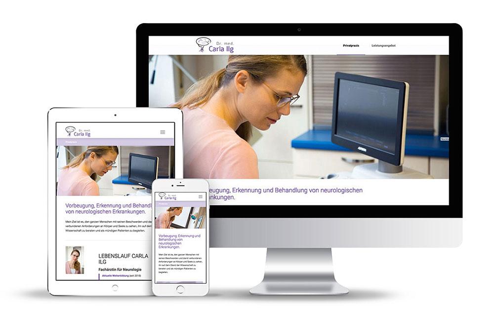 Das Webdesign für die Ärztin Dr. Ilg wurde mit WordPress erstellt.