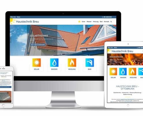 Webdesign mit WordPress, Webseite erstellt für Handwerksbetrieb Haustechnik Breu