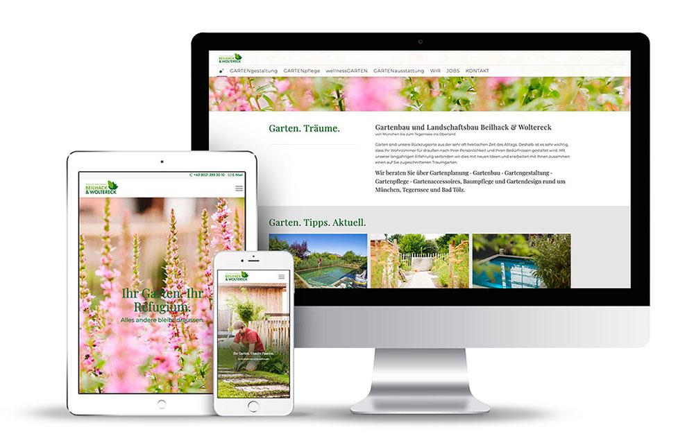Webseite für den Garten & Landschaftsbaubetrieb Beilhack & Woltereck