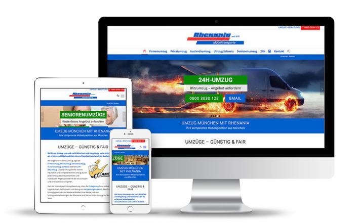 Webseite auf Wordpress Basis für Rhenania Möbeltransporte