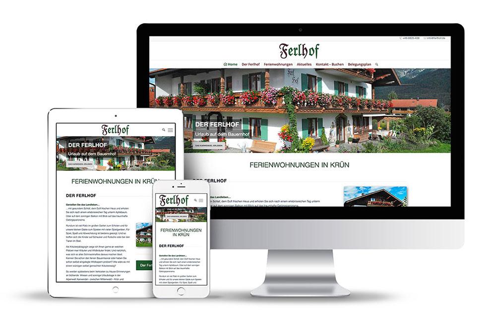 Webseitengestaltung mit Wordpress für den Ferlhof in Krün