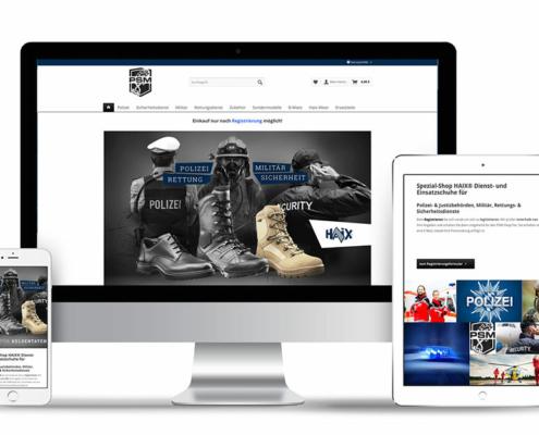 Webdesign [XT-Commerce] für Onlineshop der Dienst- und Einsatzschuhe PSM