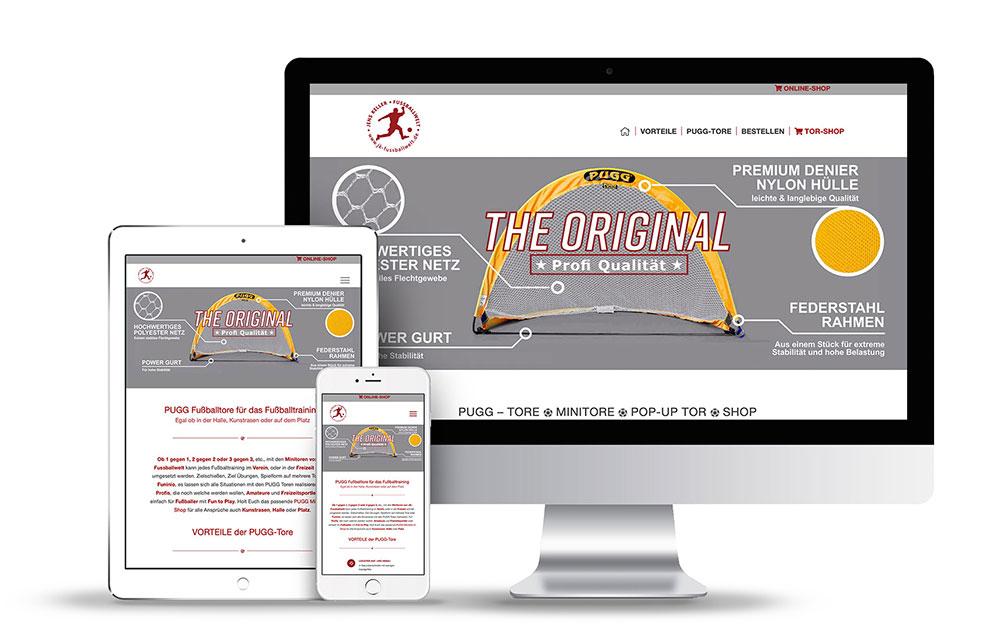 Webdesign für Onlineshop der Fußballtoren Pugg-Tore