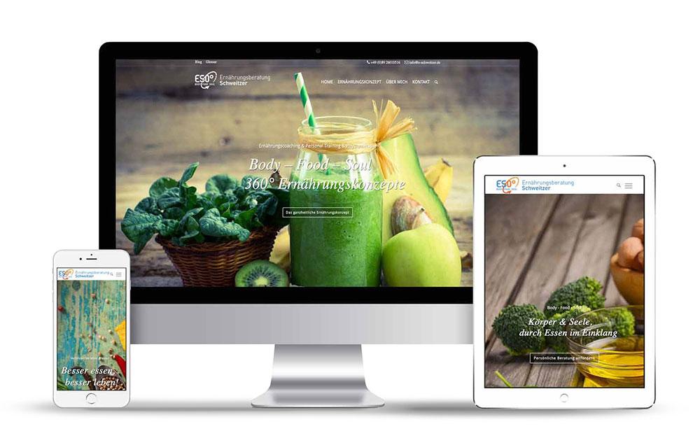 Webseitengestaltung für die Ernährungsberatung Schweitzer