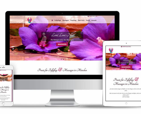 Webseite Praxis für Fußpflege und Massage in München
